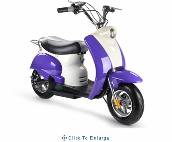 MotoTec 24v Electric Moped Purple Kids Bike