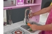 Pink toddler wooden play kitchen