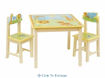 Savanna Smiles Kids Table & 2 Chairs set by GuideCraft