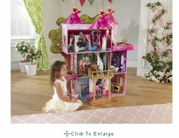 Storybook Mansion Dollhousewith 14 pc doll furniture