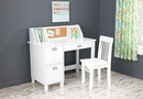 Student study desk chair Set with side drawers - white