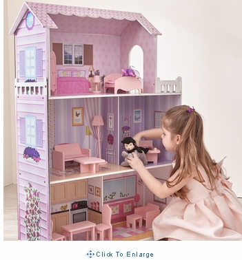 Teamson Kids - Fancy Mansion Wooden Doll House (w/ 13pcs furniture)
