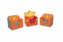 The Royal Count Club Armchair Kit Set of 3 in Orange