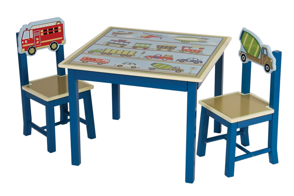Transportation Themed Moving All Around Kids Table & 2 Chairs Set ...