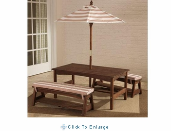 Outdoor table & bench set  Espresso with cushions & umbrella