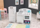 White retro play kitchen and refrigerator Set