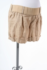 Beige Linen Maternity Shorts by Old Navy Maternity - Size Large