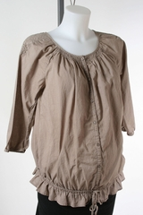 Brown Cotton Maternity Top by Old Navy Maternity - Size Extra Small