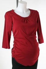Dark Red Long Sleeve Maternity T-shirt by A Pea in the Pod - Size Small
