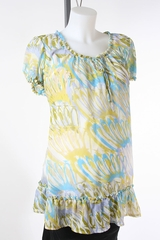 Green and Blue Sheer Maternity Top by Liz Lange Maternity - Size Extra Large