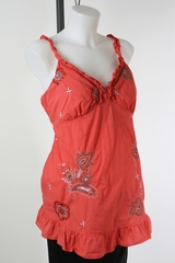 Orange Embroidered Maternity Top by Motherhood Maternity - Size Extra Large