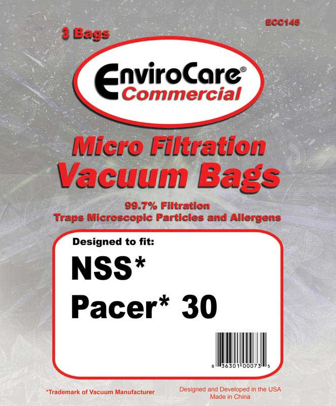 Nss Pacer 30 Commercial Grade 2 Ply Micron Filtration Vacuum Cleaner Bags W Dust Seal 3 Individual Generic Oem 32 9 082 1