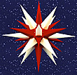 32 Inch Diameter White and Red Paper Moravian Star by Herrnhuter Sterne GmbH