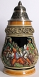 German Men Drinking, Painted Beer Stein by KING-WORKS Wuerfel & Mueller GmbH and Co. in Hoehr-Grenzhausen