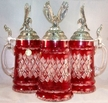 German Lord of Crystal Eagle, Red Beer Stein by KING-WORKS Wuerfel & Mueller GmbH and Co. in Hoehr-Grenzhausen