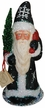 Black Glitter with White Flakes Santa Paper Mache Candy Container by Ino Schaller