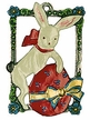Bunny & Egg in Frame, Painted on Both Sides Pewter Ornament by KÜHN