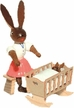 Bunny with Cradle and Baby Wooden Figurine by Drechslerei Kuhnert GmbH