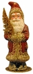 Burgundy Red Santa with Gold Tree Paper Mache Candy Container by Ino Schaller