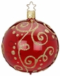 "3 1/4"" Milan, Red Shiny Transparent Ornament by Inge Glas in Neustadt by Coburg"