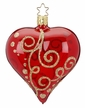 "4"" Milan Heart, Red Shiny Transparent Ornament by Inge Glas in Neustadt by Coburg"