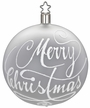 """3 1/4"""" White Matte Merry Christmas Ornament by Inge Glas in Neustadt by Coburg"""