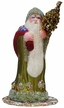 Chartreuse Santa Paper Mache Candy Container by Ino Schaller