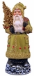 Chartreuse Santa with Crystals Paper Mache Candy Container by Ino Schaller
