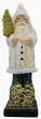 Cream with Gold Trim Santa on Wood Base Paper Mache Candy Container by Ino Schaller