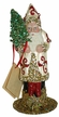 Cream with Red Decor Beaded Santa Paper Mache Candy Container by Ino Schaller