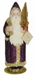 Santa with Purple Glitter Paper Mache Candy Container by Ino Schaller