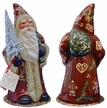 Dark Red Santa with Gingerbread Decor  Paper Mache Candy Container by Ino Schaller