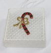 Lace Red Candy Cane with Bow, Basket Ornament by Stickservice Patrick Vogel in OT Hammerbrücke