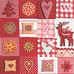 Patchwork Red & White Luncheon Size Paper Napkins by Made by Paper + Design GmbH