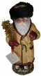 Gold Coated Russian Santa Paper Mache Candy Container by Ino Schaller