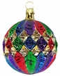 Ornamental Gold with Colored Stripes Ball Ornament by Hausdörfer Glas Manufaktur