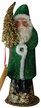 Green Beaded Santa Paper Mache Candy Container by Ino Schaller
