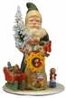 Green Santa with Bag of Toys Paper Mache Candy Container by Ino Schaller