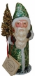 Green Sponged Santa Paper Mache Candy Container by Ino Schaller