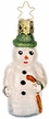 Green Topped Traveler Snowman Ornament by Inge Glas