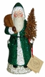 Green with Copper Bag & Tree Santa Paper Mache Candy Container by Ino Schaller