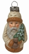 Paper Mache Hanging Santa, White Ornament by Marolin
