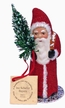 Red Beaded Small Santa Paper Mache Candy Container by Ino Schaller