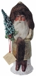 Santa with Champagne Coat and Holly Leaf Paper Mache Candy Container by Ino Schaller