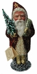 Santa, Fuschia Coat with Stars Paper Mache Candy Container by Ino Schaller