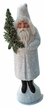 Santa, White Coat with Tree & Holly Leaf Paper Mache Candy Container by Ino Schaller