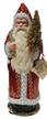 Santa, Red Shiny Coat with Ermine Edge & Gold Lines Paper Mache Candy Container by Ino Schaller
