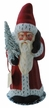 Santa, Matte Red Coat with Ermine Edge Paper Mache Candy Container by Ino Schaller