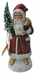Santa, Red, Shiny, Sponged Coat Paper Mache Candy Container by Ino Schaller
