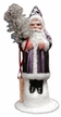 Small Santa in Purple Coat Paper Mache Candy Container by Ino Schaller